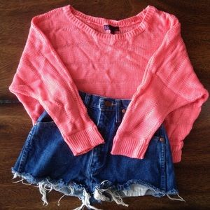 NWOT Hot Pink Sweater Cute Crop Top